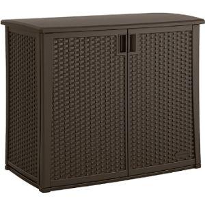 Suncast Plastic Wicker Storage Container Cabinet