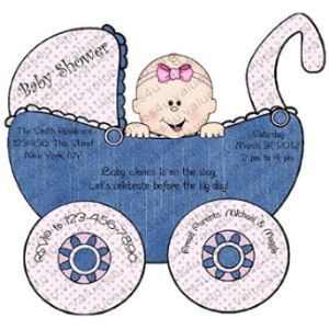 Values 4 U Baby Carriage Shower Invitation