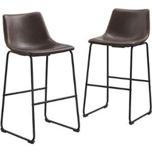 Walker Edison Furniture Company Stool Leather Seat