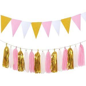 Aonor Pink Gold Tassel Garland