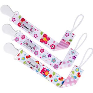 Milanti Baby Bib With Pacifier Holder Patterns