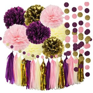 Qian'S Party Pink Gold Tassel Garland