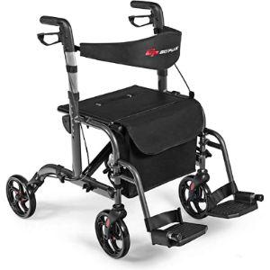 Goplus Rolling Walker Transport Chair