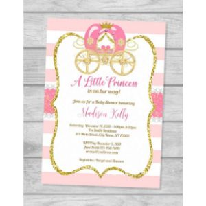 Dpi Expressions Princess Carriage Baby Shower Invitation