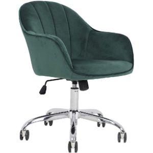 J&L Velvet Rolling Chair