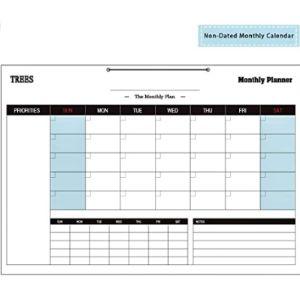 Trees Blank Desk Pad Calendar