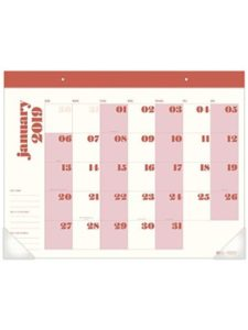 Mead (Dated Office Supplies) pink  desk pad calendars