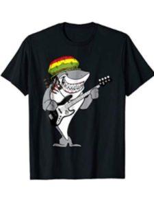 Shark T-shirts Music Mashups playing  reggae guitars