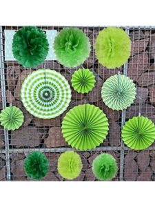 GREEN Paper Fans rosette  tissue papers