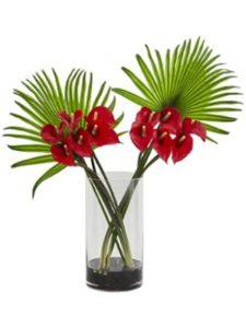 Nearly Natural arrangement  fan shaped flowers