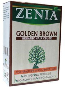 Zenia dye golden brown  henna hairs
