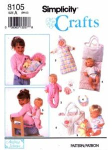 Simplicity Pattern Co. Inc. sewing pattern  doll carriers