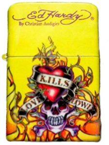 Ed Hardy Oil Lighter Tattoo Design Flip-Top Flint Refillable--    top tattoo designs