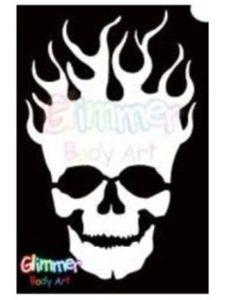 Glimmer Body Art skull tattoo stencil